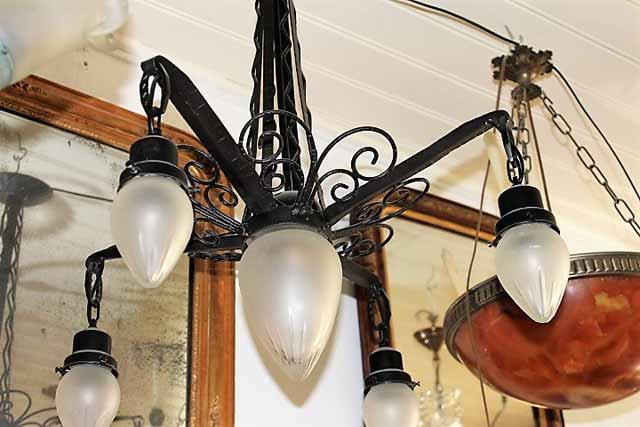 Art Deco Hanglamp : Marinus licht art deco ijzeren hanglamp uit frankrijk art deco